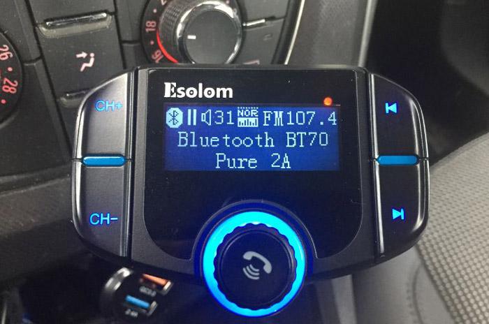 ORIA FM Trasmettitore Auto Radio Adattatori Vivavoce Car Kit Supporta Riprodurre Musica da Cellulare o Carta TF Trasmettitore FM Bluetooth Caricabatterie Auto con Chiamata Vivavoce e 2 USB Port